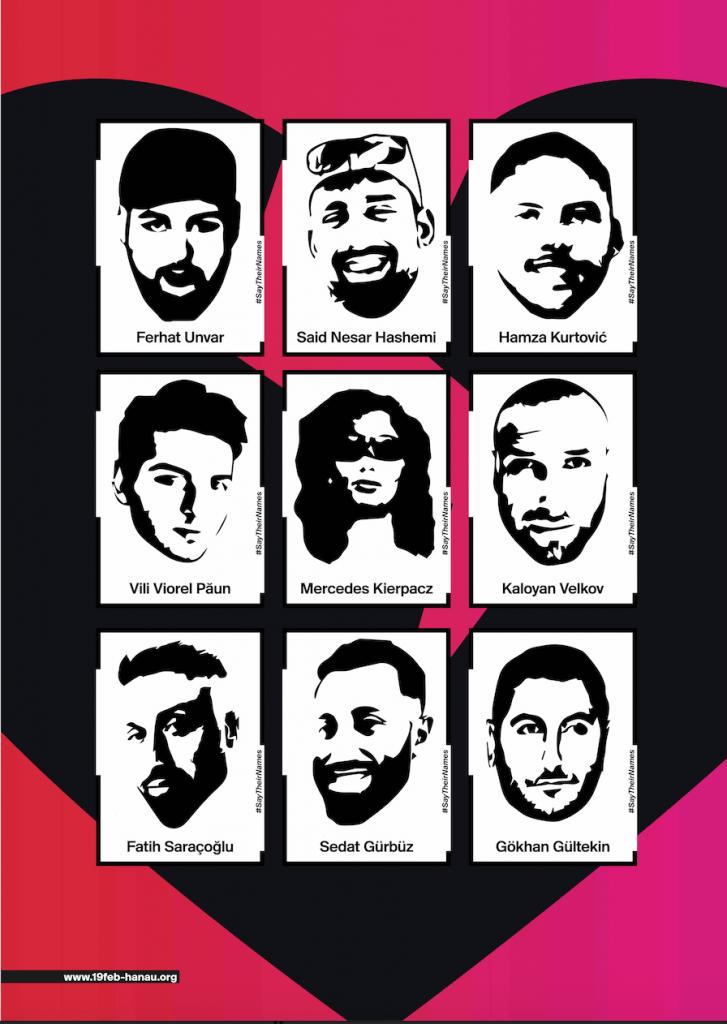 Plakat der Initiative 19. Februar mit den Bildern und Namen der Opfer #saytheirnames